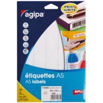 Agipa - 114085 - etiquette adhésive blanche a5 - format 38,5x26,5 m - etui de 400