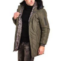 Uniplay - Blouson homme kaki long à capuche fourrure