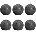 Rustic - Bolsius bougie boule rustique grise 80mm 6 pièces