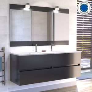 creazur meuble salle de bain double vasque rosaly 140 gris brillant pas cher achat vente. Black Bedroom Furniture Sets. Home Design Ideas
