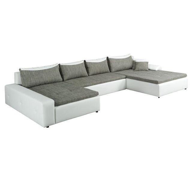 5c22bc9637588 Chloe Design - Canapé panoramique convertible Louna - gris et blanc - Angle  gauche