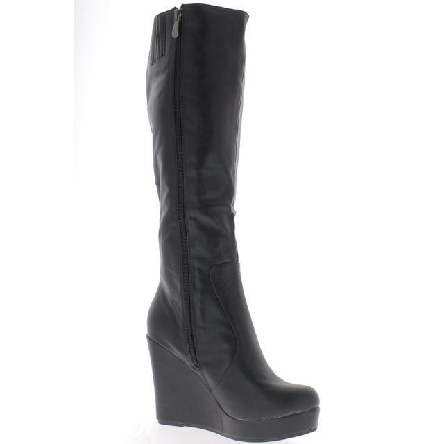 meilleur site web 71fe1 df5d9 Chaussmoi - Bottes compensées femme noires talon 10,5cm ...