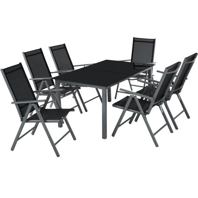 Pliantes Noir Table Verre Avec De 6 Chaises Jardin Et Salon Gris 1 En Aluminium kOXPZTiu