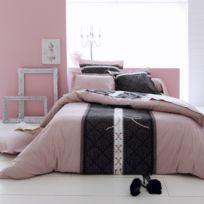 Linnea - Parure de lit 140x200 cm 100% coton Glamour Rose 2 pièces