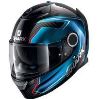 Shark - casque moto intégral en Carbone Spartan Carbon Guintoli Dub noir bleu rouge brillant 2XL