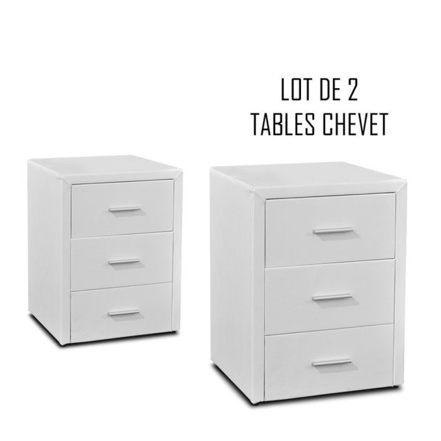 Meubler Design Table chevet 3 tiroirs Kasi Lot de 2 blanc