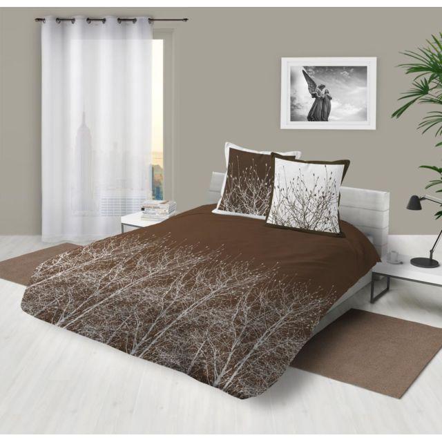 soleil d 39 ocre parure housse de couette coton 57 fils 260x240 cm forest automne par pas cher. Black Bedroom Furniture Sets. Home Design Ideas