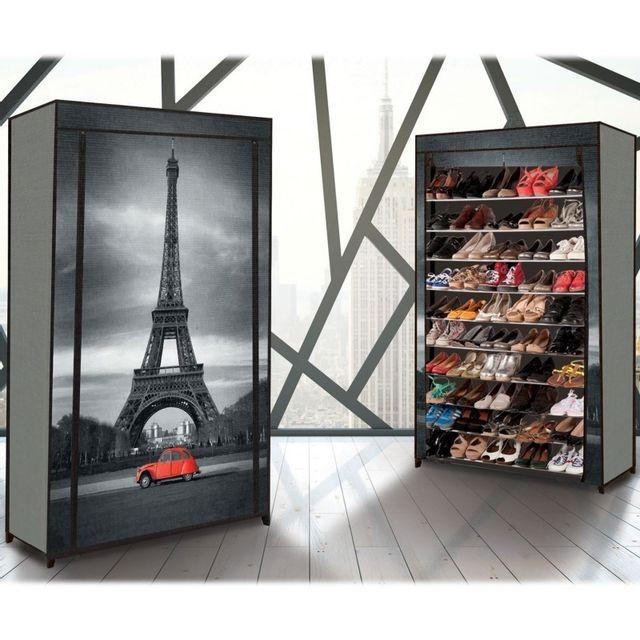 Idmarket Étagère range <strong>chaussures</strong> 50 paires eco avec housse imprimé paris