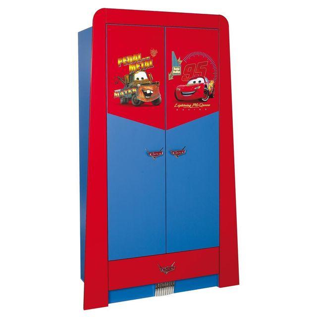 Comforium Armoire enfant à 2 portes + 1 tiroir design cars disney coloris rouge et bleu