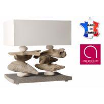 BO TIME - Lampe à poser 2 tiges base 40 cm - Bois vieilli, bois flotté, galets - Fabriqué à la main en France