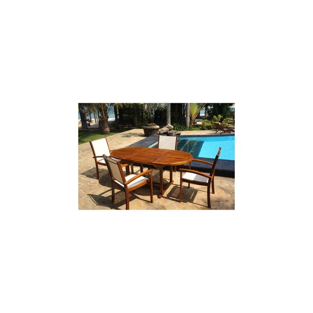 Wood-en-Stock - salon de jardin en teck et Batyline 4-6 places table ...