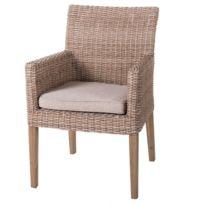 Lot de 2 chaises de jardin en rotin naturel et coussin beige Palencia - L  60 x l 63 x H 86