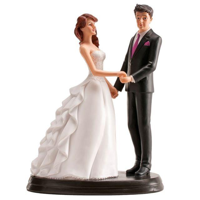 Figurine Couple Marie Romantique Se Donnant Les Mains Decoration Gateau Mariage 554