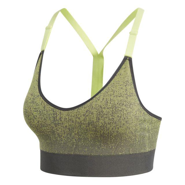 d1fe919aa54dc Adidas - Brassière Strappy Heather gris carbone jaune fluo - pas ...