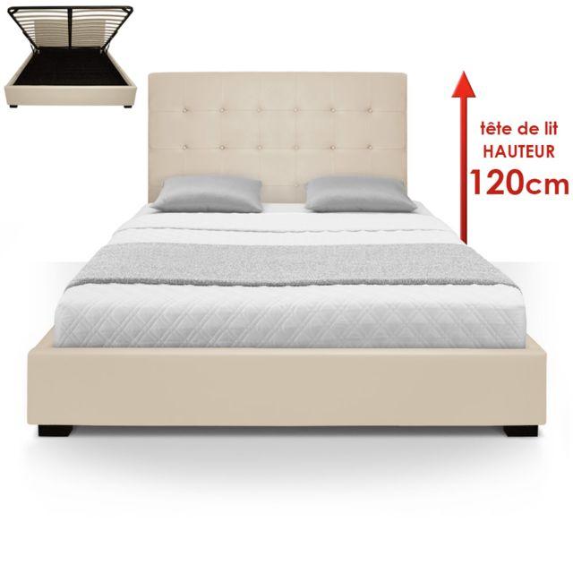 menzzo lit coffre trevene sommier 160cm beige 160cm x 200cm pas cher achat vente. Black Bedroom Furniture Sets. Home Design Ideas