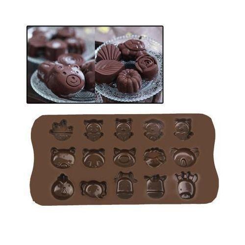 Yonis Plaque de mini moules silicone animaux originaux 15 formes marron