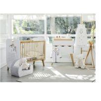 Lit bébé ''Norvège'' en bois blanc + Commode à langer ''Norvège'' en bois blanc