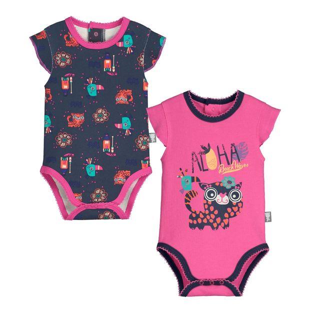 Petit Beguin - Lot de 2 bodies manches courtes bébé fille Ilohana - Taille  - 3 mois 62 cm Multicolore - pas cher Achat   Vente Sous-vêtements ecc4ca5d461