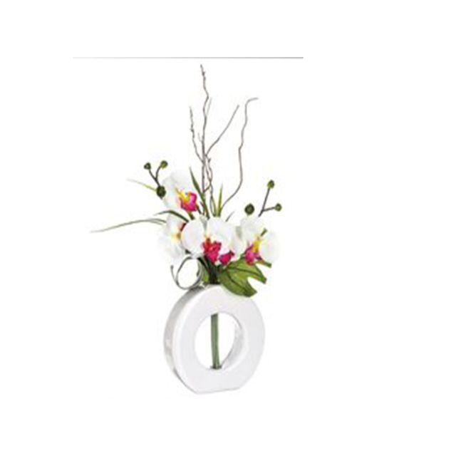 Atmosphera, Createur D'INTERIE Composition d'orchidées blanches et roses - vase blanc - Atmosphera