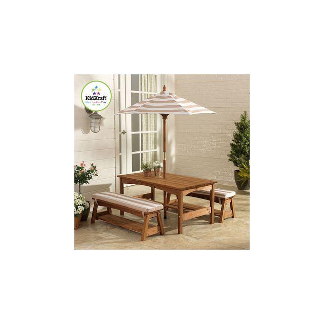 Kidkraft Table Et Banc De Jardin Avec Coussins Et Un Parasol