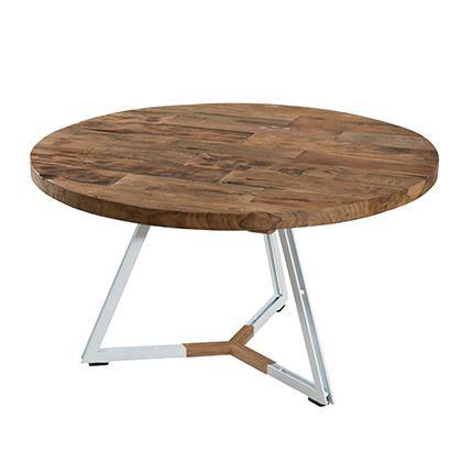 Table basse ronde pieds blancs 75x75 cm Appoline - teck foncé