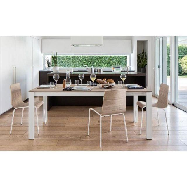 Inside 75 Table repas extensible Baron 130x85 en bois naturel piétement métal laqué blanc