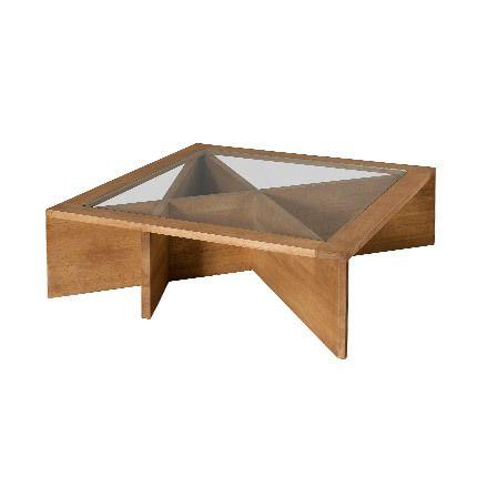 Table basse plateau vitré 100 x 100 x 38 cm Hambourg - bois naturel