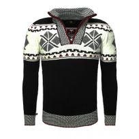 Beststyle - Pull vintage homme noir col zippé fashion
