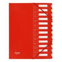 Extendos - Trieur à élastiques carton / plastique 12 compartiments A4 - rouge
