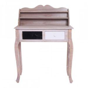 Mobili Rebecca - Table bureau Console 2 Tiroirs Bois Blanc Noir ...