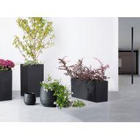 Beliani - Cache-pot de fleurs - noir - pot de jardin - 21x21x22 cm - Lomond