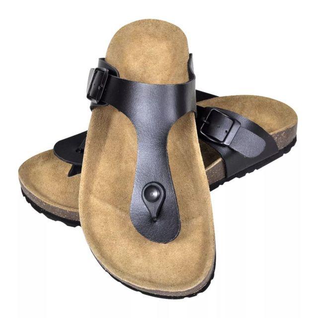 712041005e16 Vidaxl - Tongs unisexes noires en liège bio taille 38 - pas cher Achat   Vente  Entretien des chaussures - RueDuCommerce