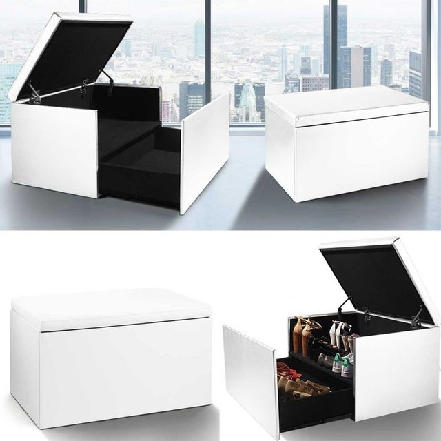 Idmarket Coffre Rangement Banquette Luxe Blanc Special Chaussures