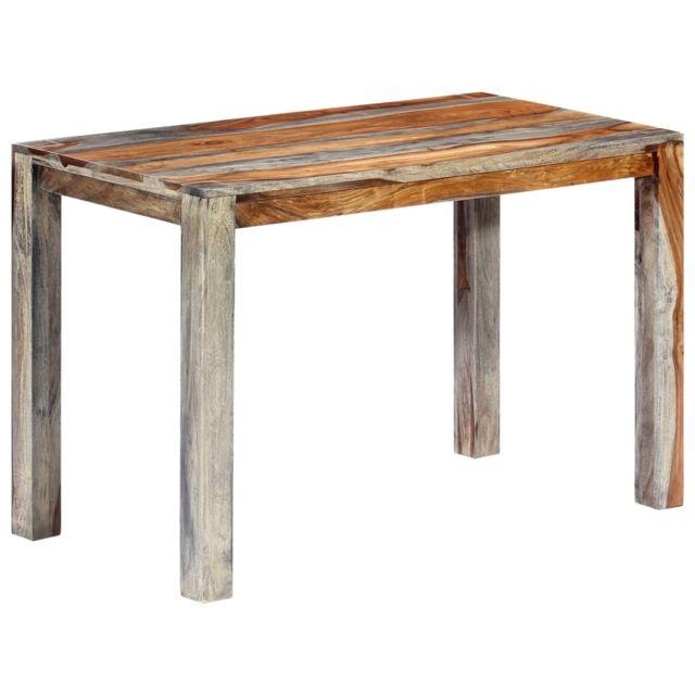 Superbe Tables ensemble Sofia Table de salle à manger Gris 118x60x76 cm Bois de Sesham solide