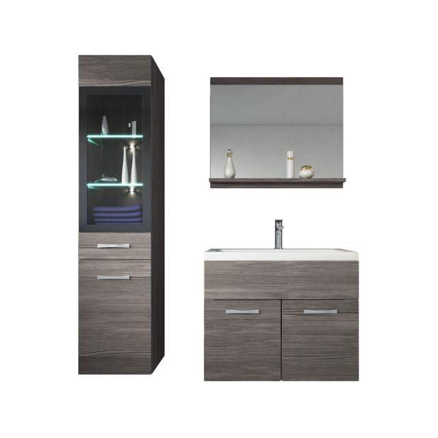 Meuble de salle de bain Rio Led 60 cm lavabo Bodega gris Armoire de  rangement Meuble lavabo