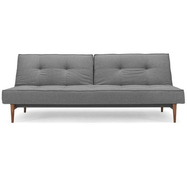 Inside 75 Canape lit design Splitback Styletto Sofa tissu Flashtex Dark Grey convertible 115 200 cm piétement noyer