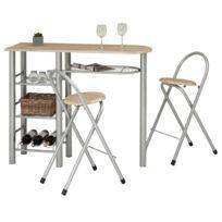 vente chaude en ligne 8e384 ea3fd Ensemble STYLE avec table haute de bar mange-debout comptoir et 2  chaises/tabourets, en MDF chêne sonoma et structure en métal