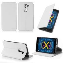 Xeptio - Etui coque luxe Huawei Honor 6X 4G blanc Ultra Slim avec stand - Housse pochette