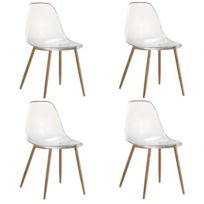 inside 75 lot de 4 chaises design scandinave osana en polycarbonate transparent - Chaise Polycarbonate Transparente