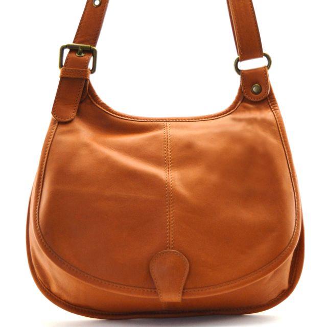 40cbf36872b01 Oh My Bag - Sac à main besace cuir lisse style cartouchière Cognac ...