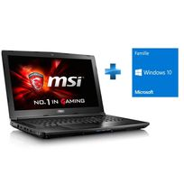MSI - GL62 7RD-468XFR - Noir + Microsoft Windows 10 Home 64 bits OEM