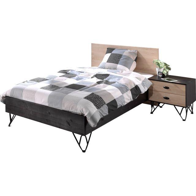 Comforium Ensemble lit 120x200 cm avec table de chevet à 2 tiroirs coloris brun et noir