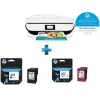 HP - OfficeJet 5232 multifonction 3 en 1 + F6U65AE - Cartouche d'encre 302 3 couleurs + F6U66AE - Cartouche d'encre 302 Noir