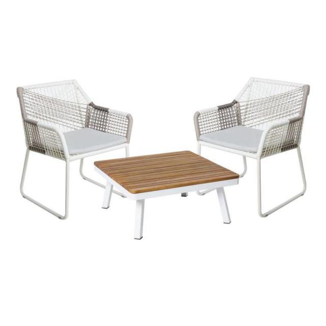TOUSMESMEUBLES Salon complet d'extérieur Bois/Aluminium/Corde - SOLOR n°1