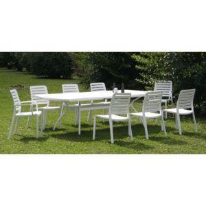 Evolutif salon jardin r sine 8 places table 210 265 - Salon de jardin en resine et alu floris blanc ...