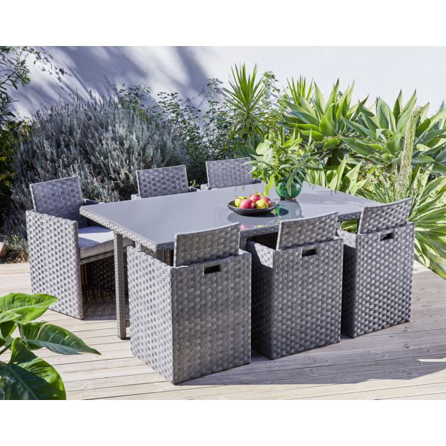 CARREFOUR - Set de jardin Madang - 7 pièces encastrables - Gris ...