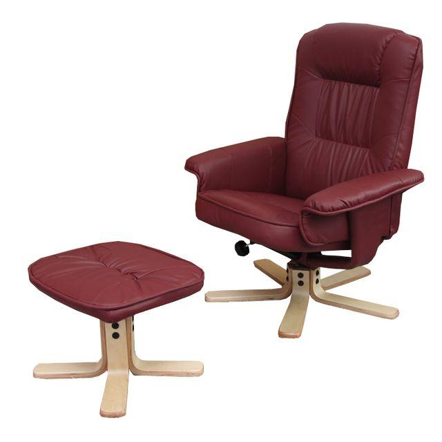 mendler fauteuil relax de relaxation m56 avec pouf simili cuir bordeaux pas cher achat. Black Bedroom Furniture Sets. Home Design Ideas