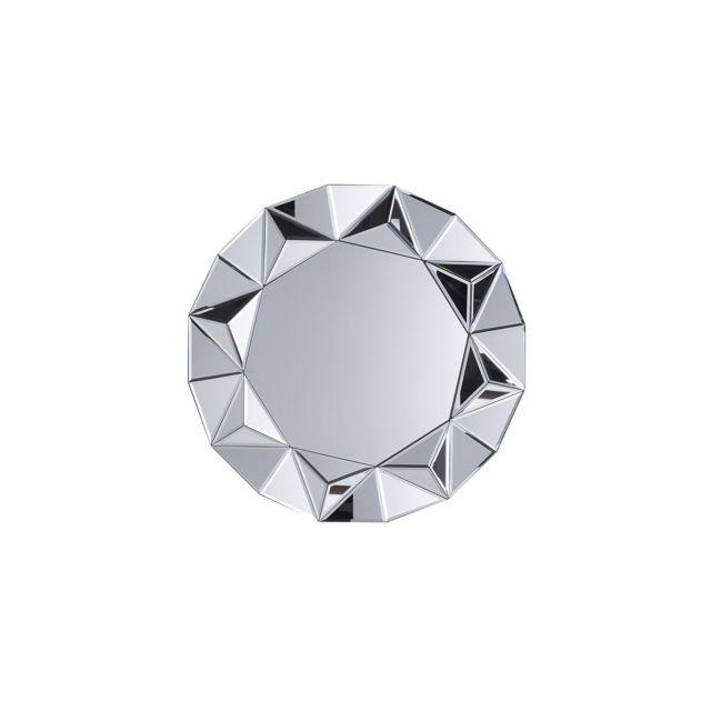 BELIANI Miroir rond argenté HABAY - argent