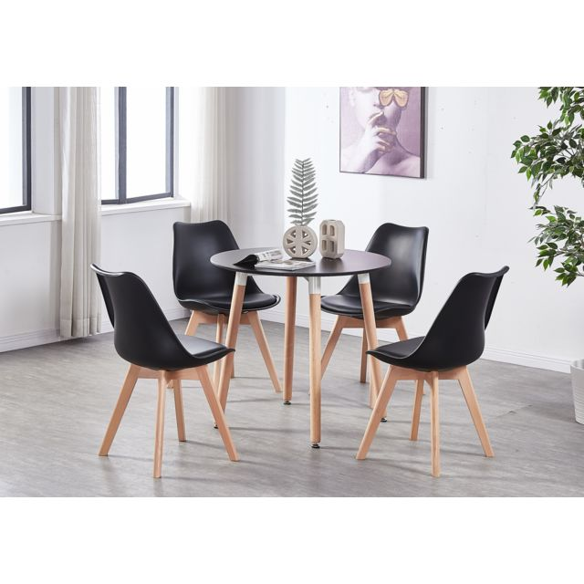 Home Design International Ensemble Table Noire Ronde + 4