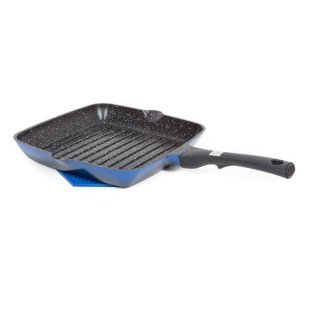 Laguiole Poêle grill carrée 28cm poignée fixe bleu - Grand Cru Qualité Pro